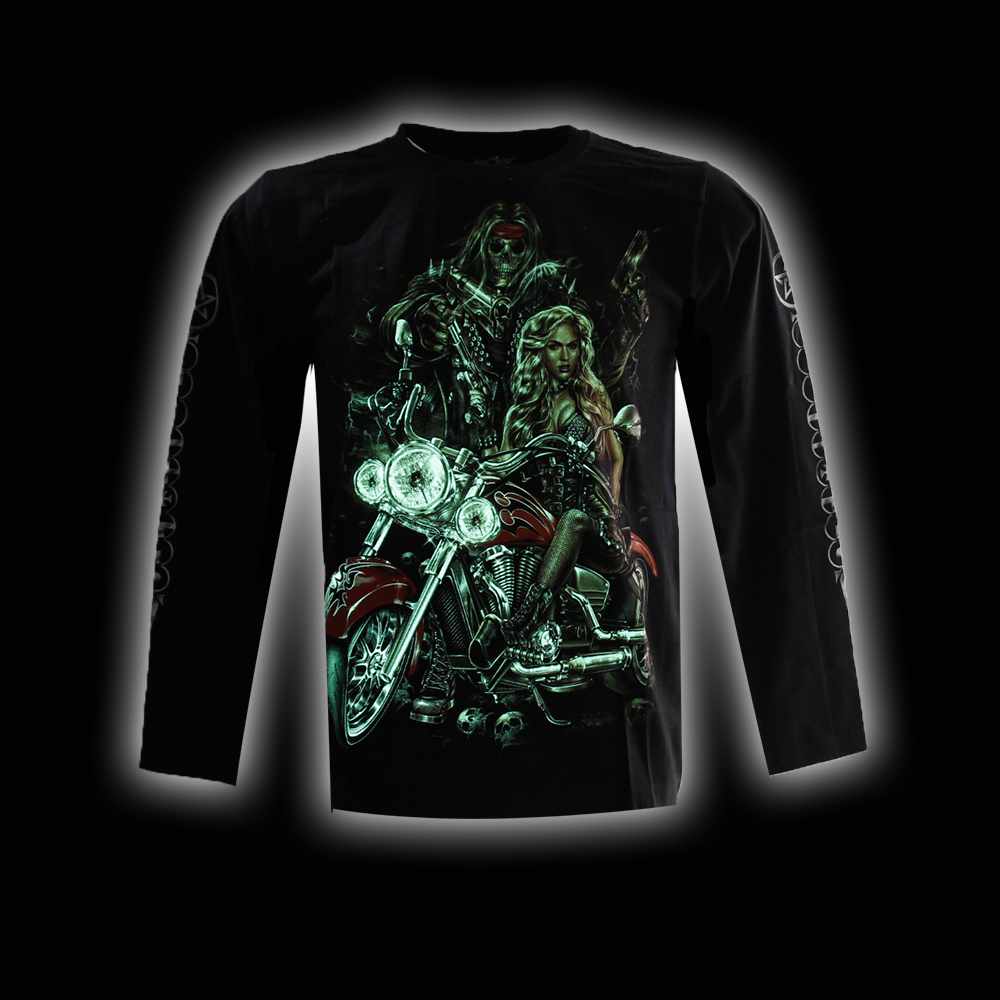 T-shirt  Punk Skull Biker wiht Woman and Noctilucent