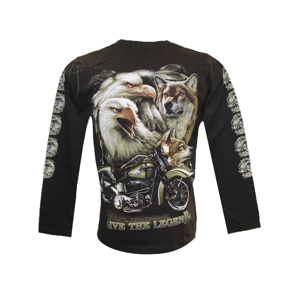 T-shirt  Motorcyclist with Eagle and Wolf