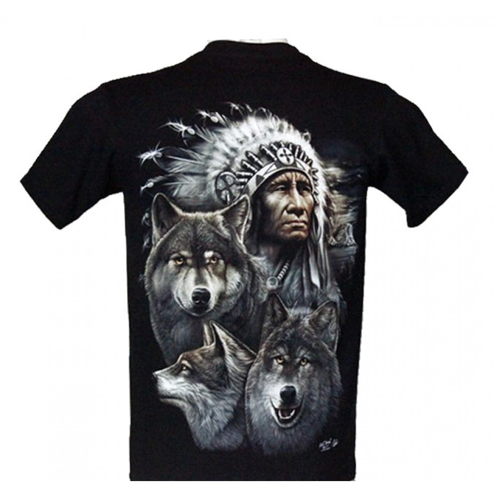 T-shirt Indian and Wolves