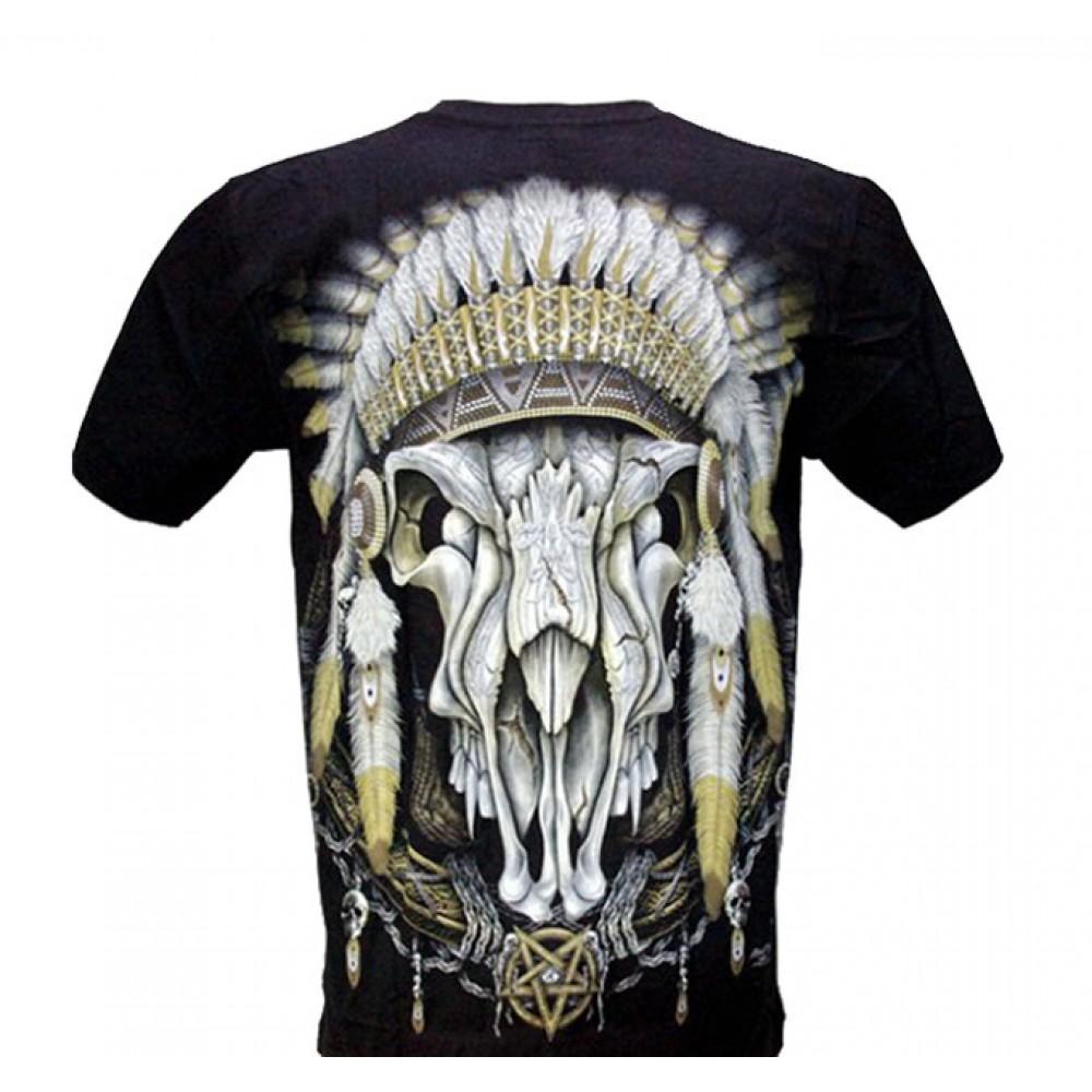 T-shirt Noctilucent Indian Skull