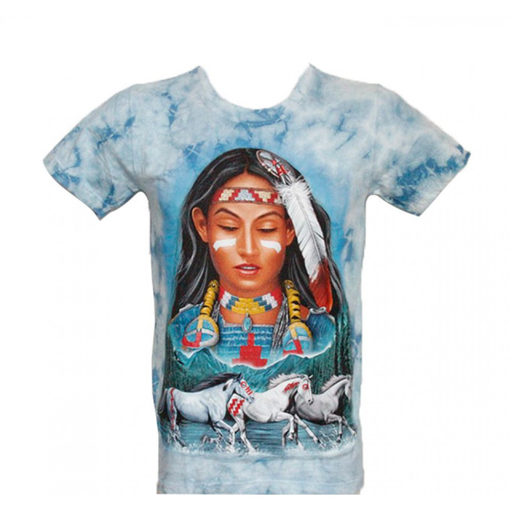 T-shirt Tie-Dye Indian Girl with Horses