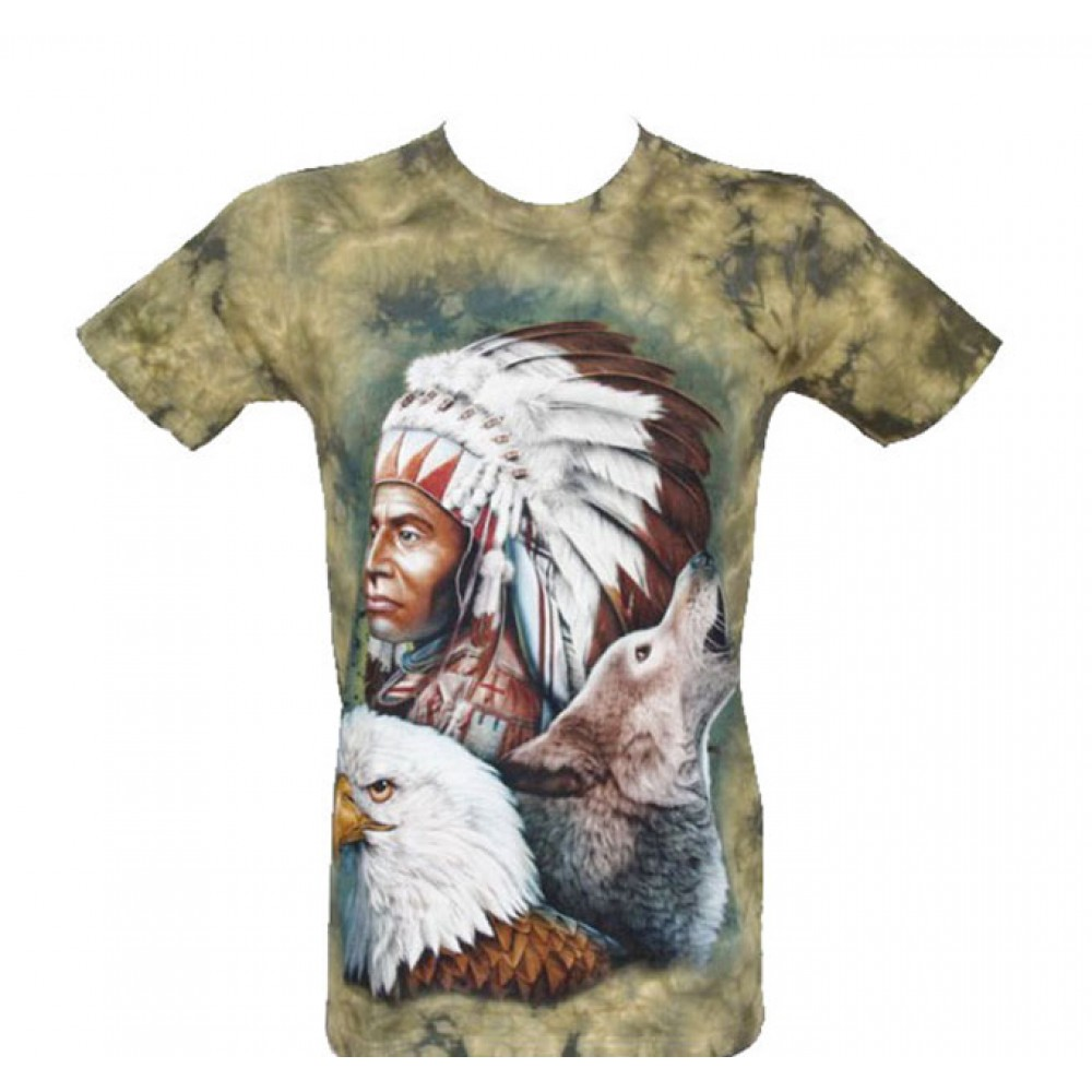 T-shirt Tie-Dye Indian with Eagle and Wolf