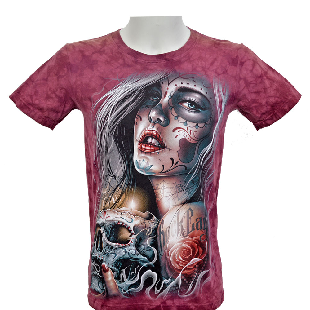T-shirt Tie-Dye Tattooed Beauty with Skull