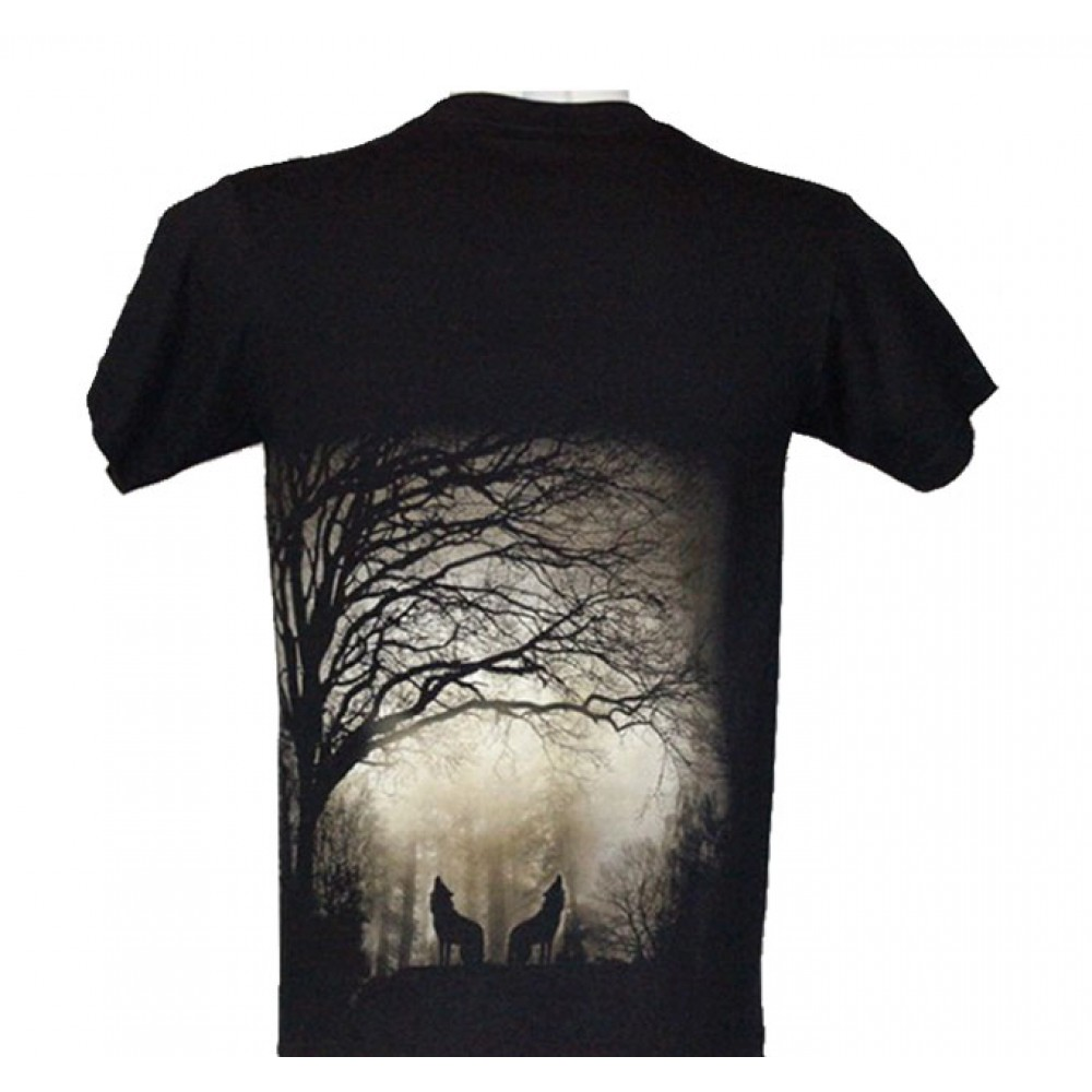 T-shirt Wolf Effect 3D and Noctilucent with Rivet
