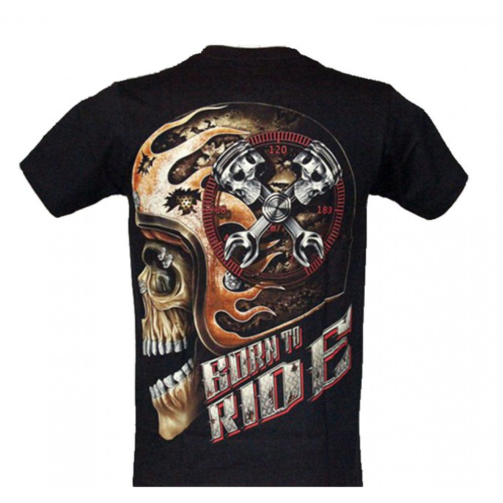 T-shirt Born to Ride Effect 3D and Noctilucent with Rivet