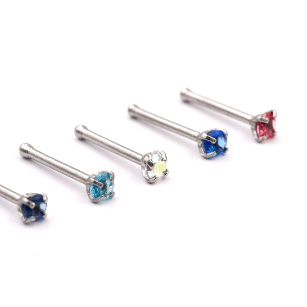 Nose Stud Straight Crystal