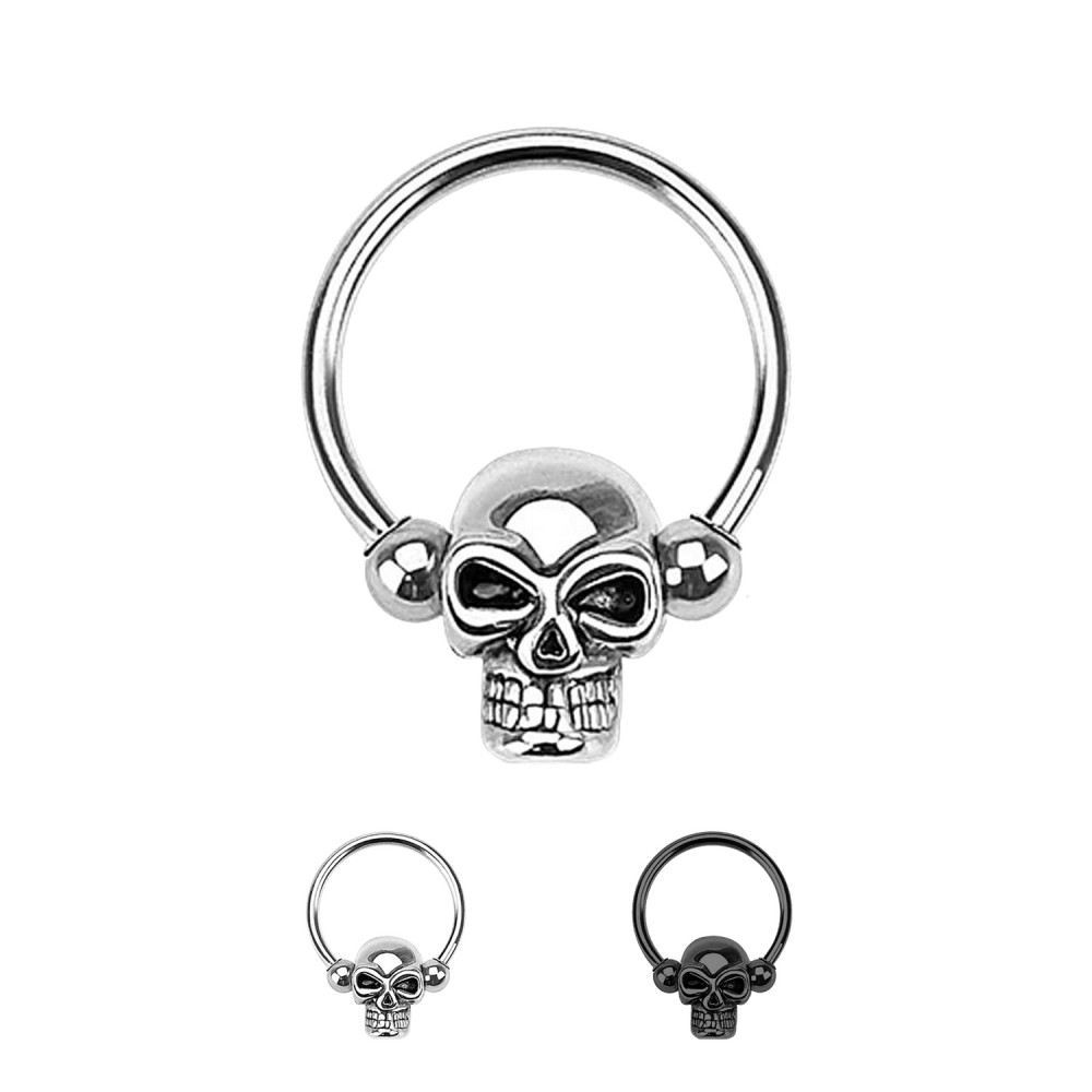 Ball Closure Ring with Skull Bead