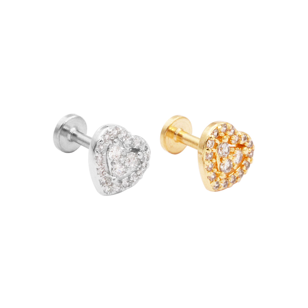 Cartilage Stud Heart with crystal