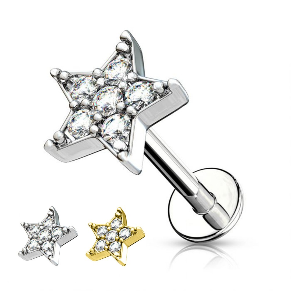 Cartilage Stud Star with Crystal