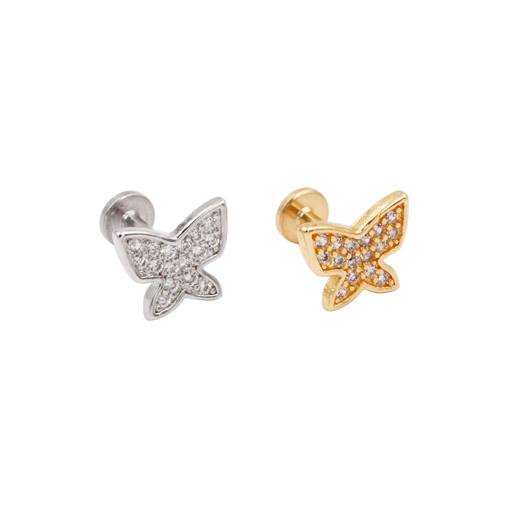 Cartilage Stud Butterfly with crystal