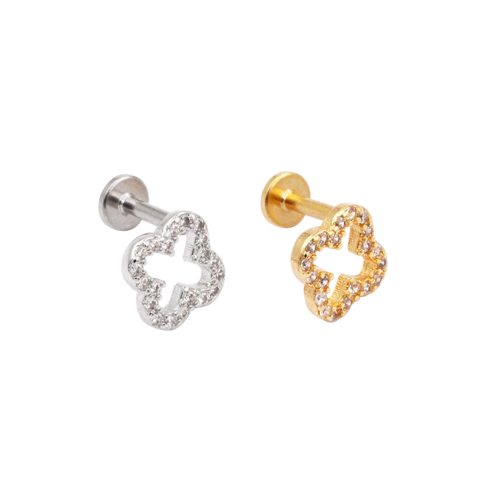 Cartilage Stud Clover with crystal
