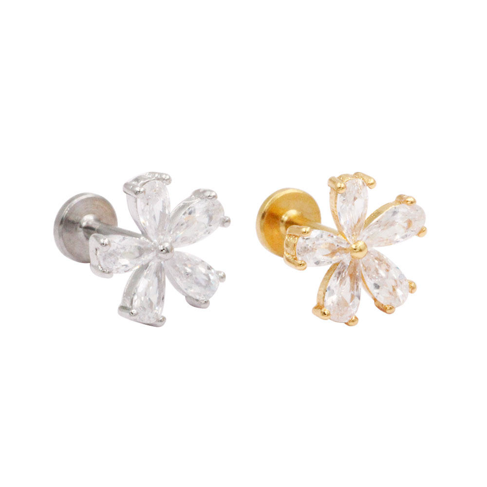 Cartilage Stud Flower with Crystal