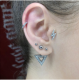 Cartilage Stud Lightning Flash with Crystals