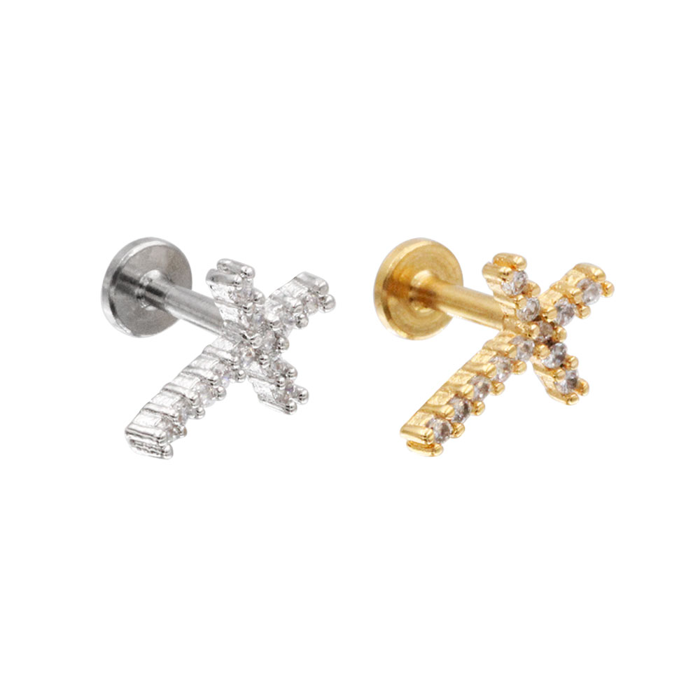 Cartilage Stud Cross with Crystal