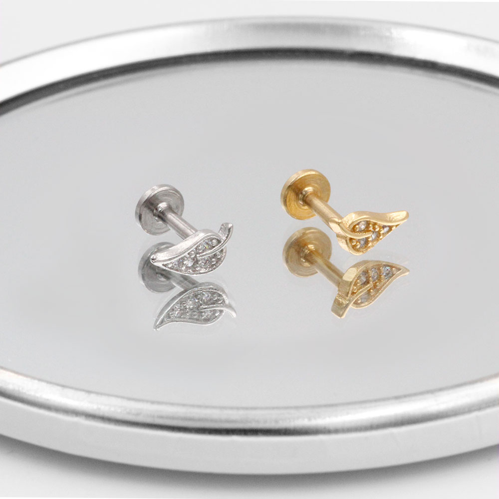 Cartilage Stud Foglia with Crystal