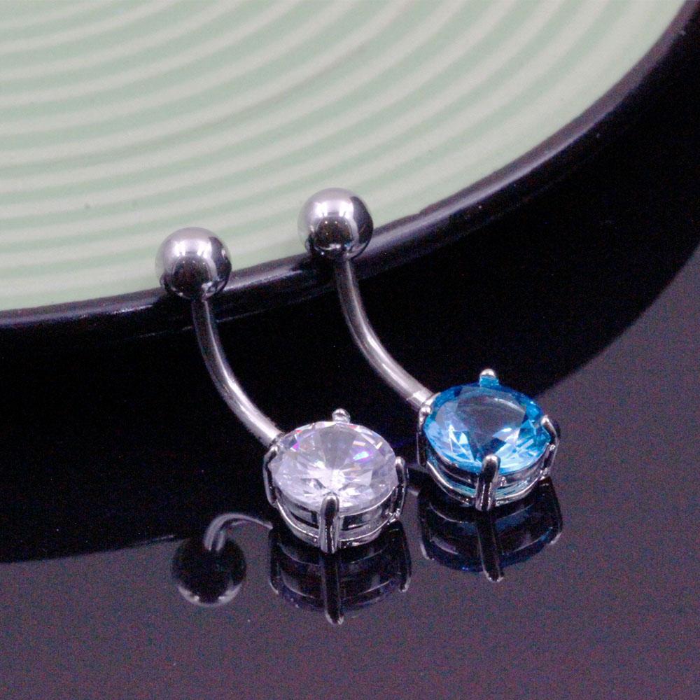 Crystal Navel Piercing with Silver / Blue Gemstone sphere