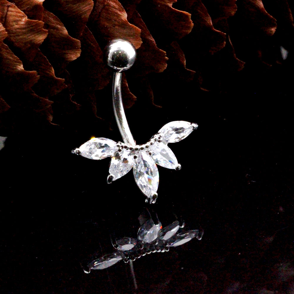navel piercing Crystal with maple leaf