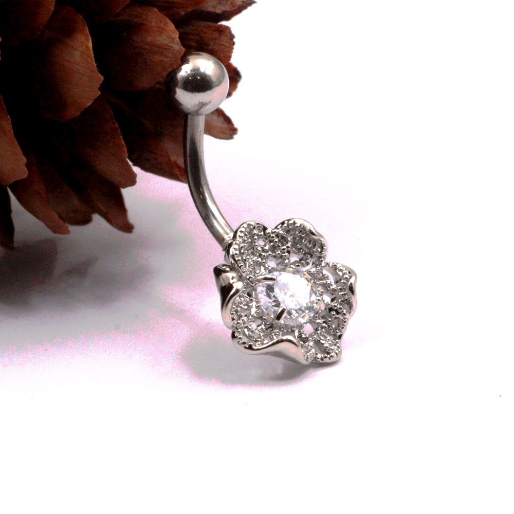 Banana Piercing Rose Flower Navel Button with Crystal
