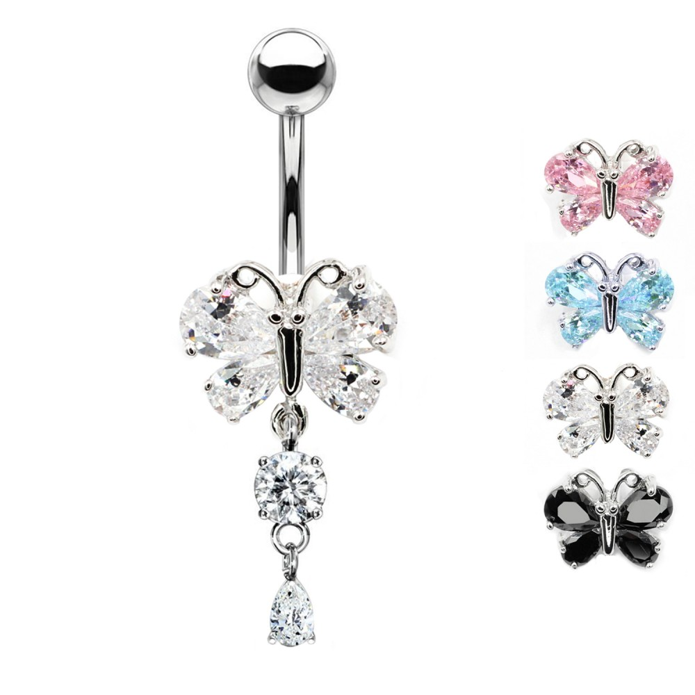 Piercing Navel Butterfly with Crystal