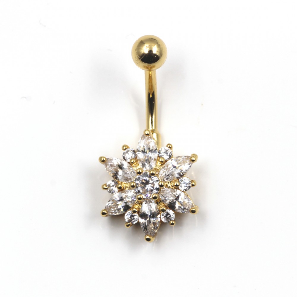 Navel Piercing with Opal Flower Crystal Shape