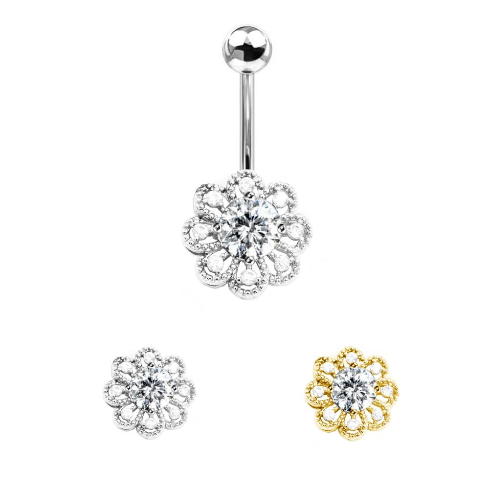 Crystal Navel Piercing with Snowflake