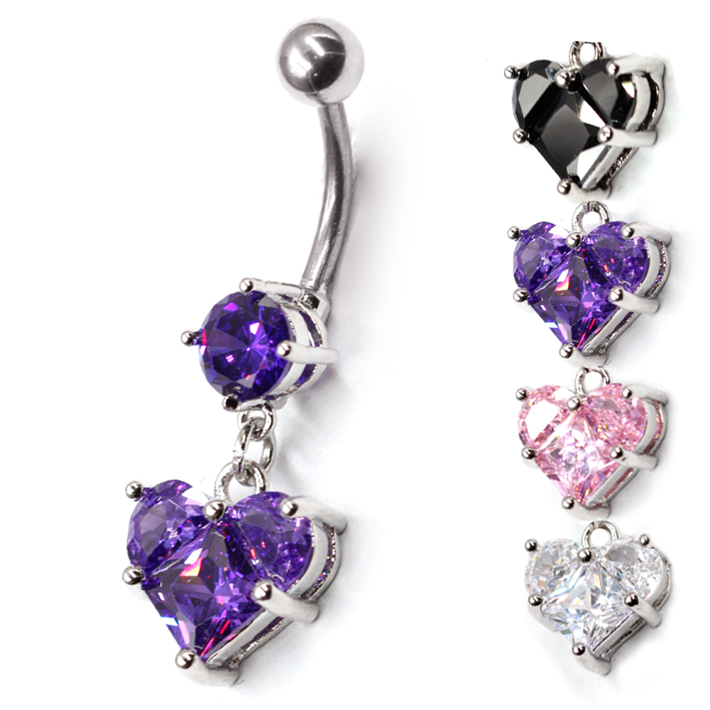 Piercing Navel heart with Crystal as a pendant