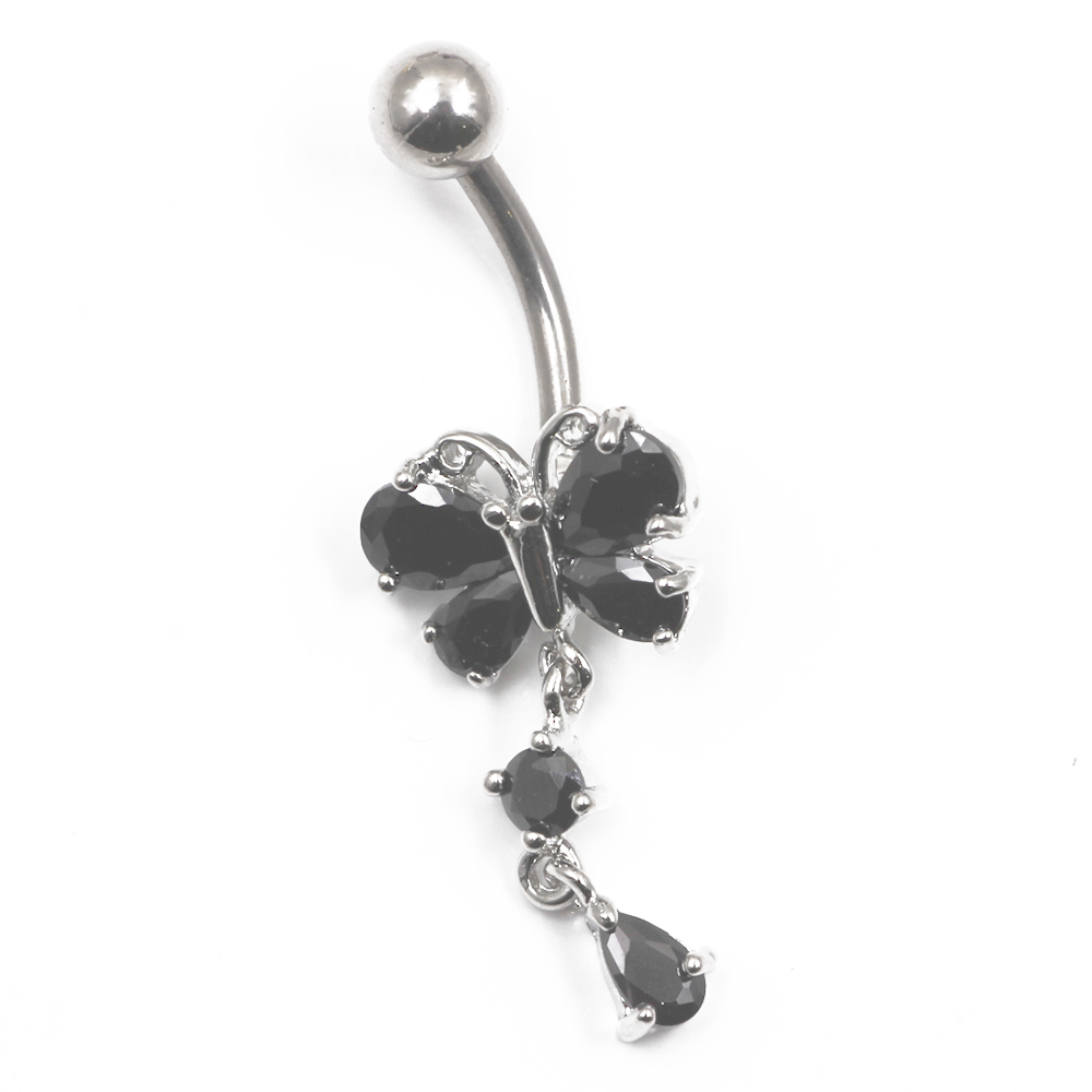 Piercing Navel Butterfly with Crystal as  pendant