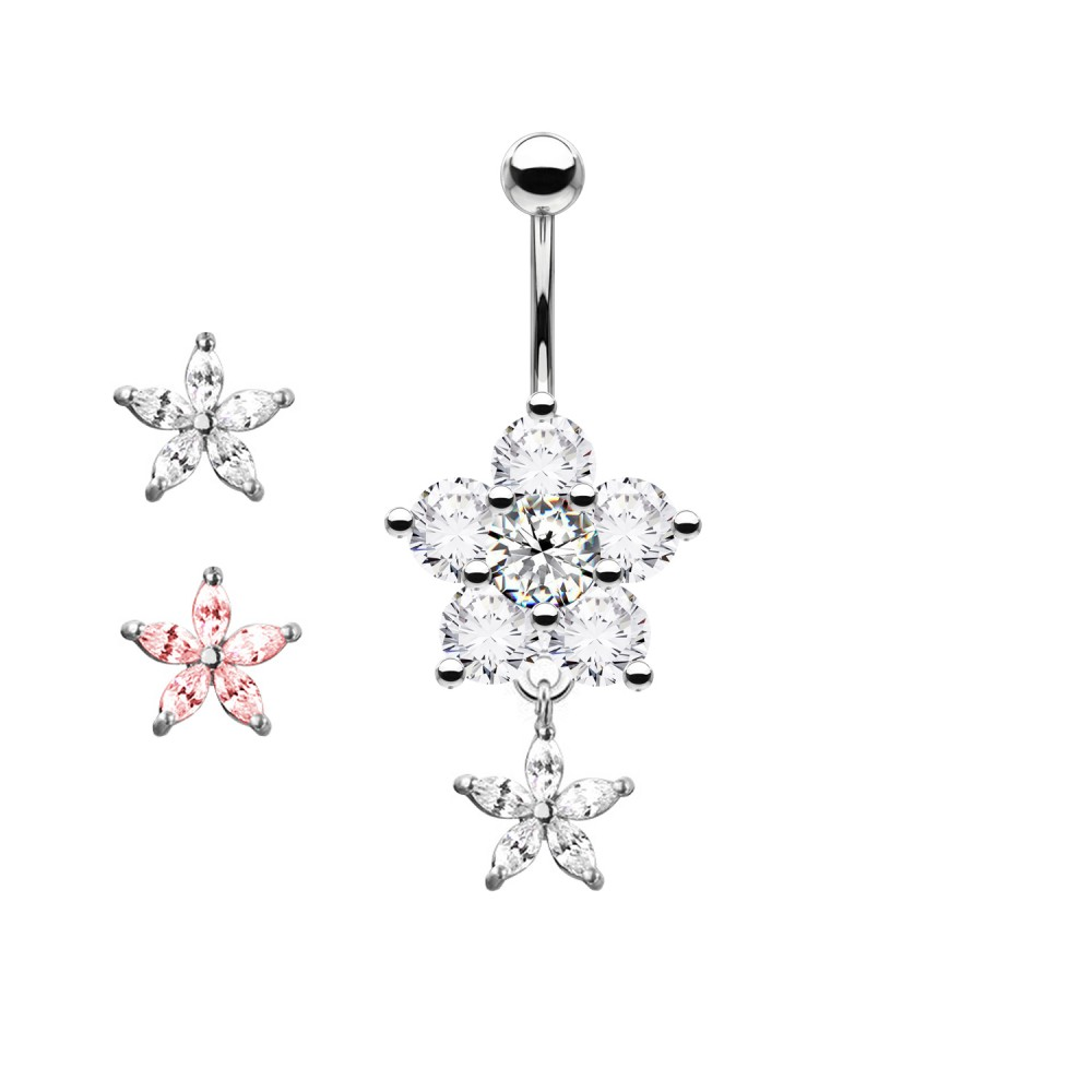 Piercing Navel Flower with Crystal a pendant