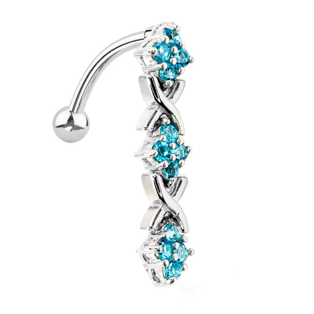 Piercing Navel Long pendant with crystal