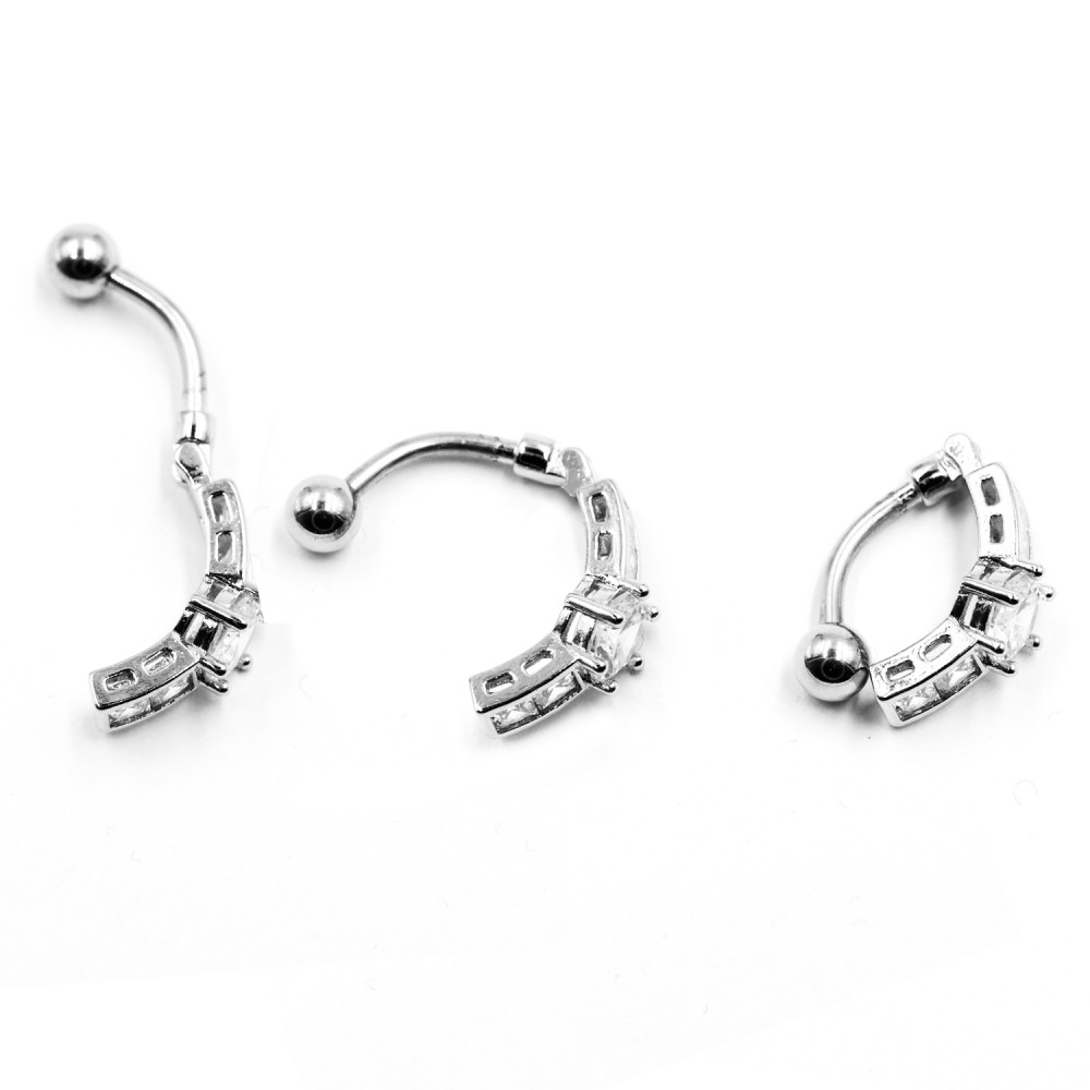 Navel Piercing with Crystal