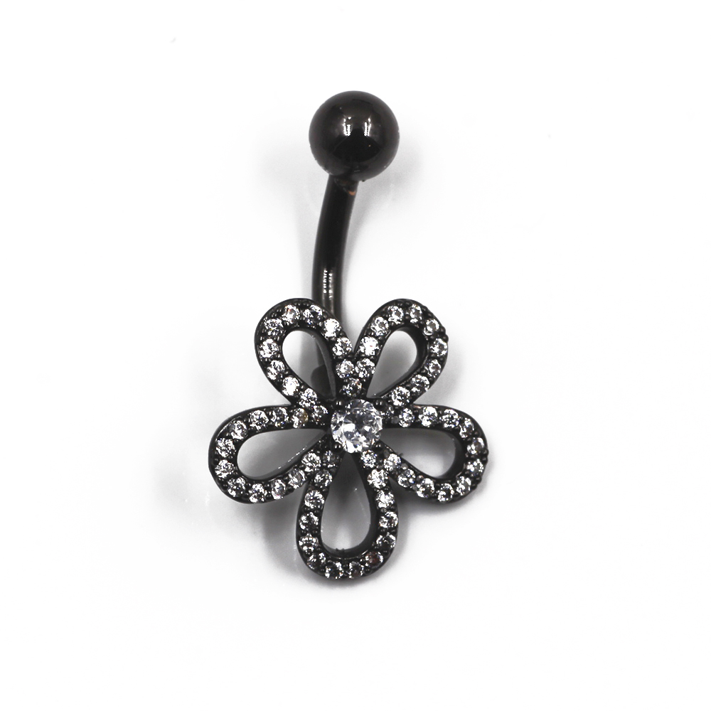 Navel Piercing with Crystal Flower