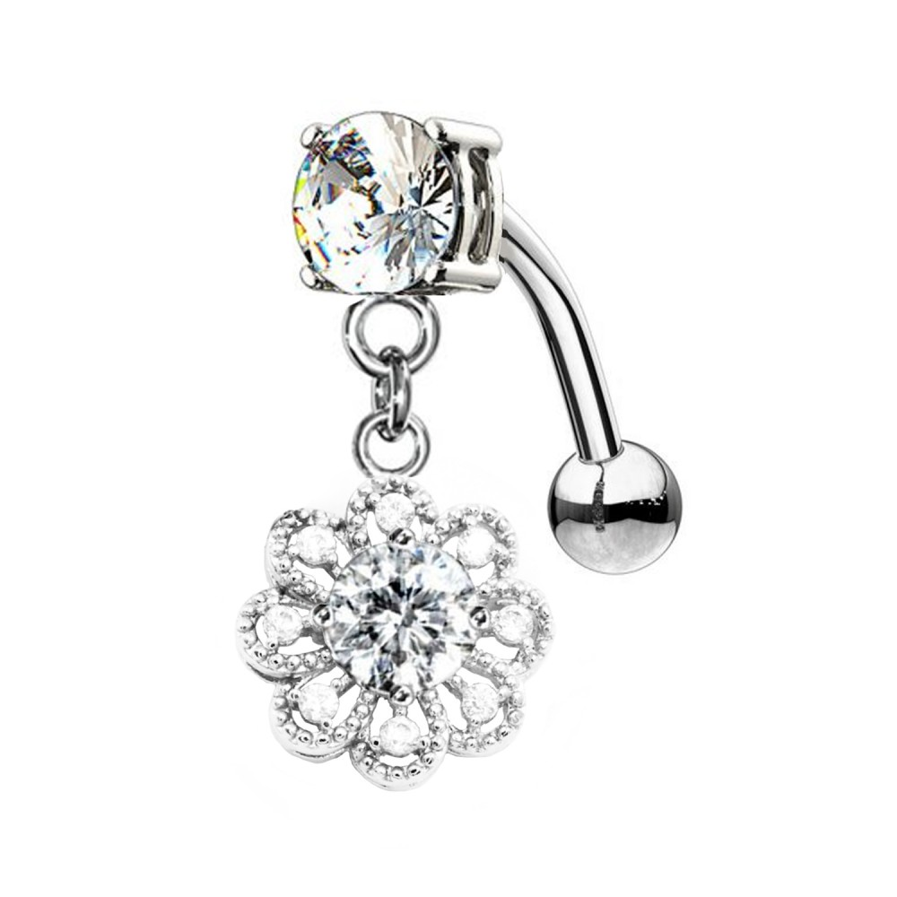 Navel Piercing with Crystal Flower Pendent