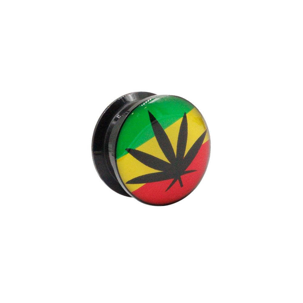 Plug Black with Leaf in Tricolor Background