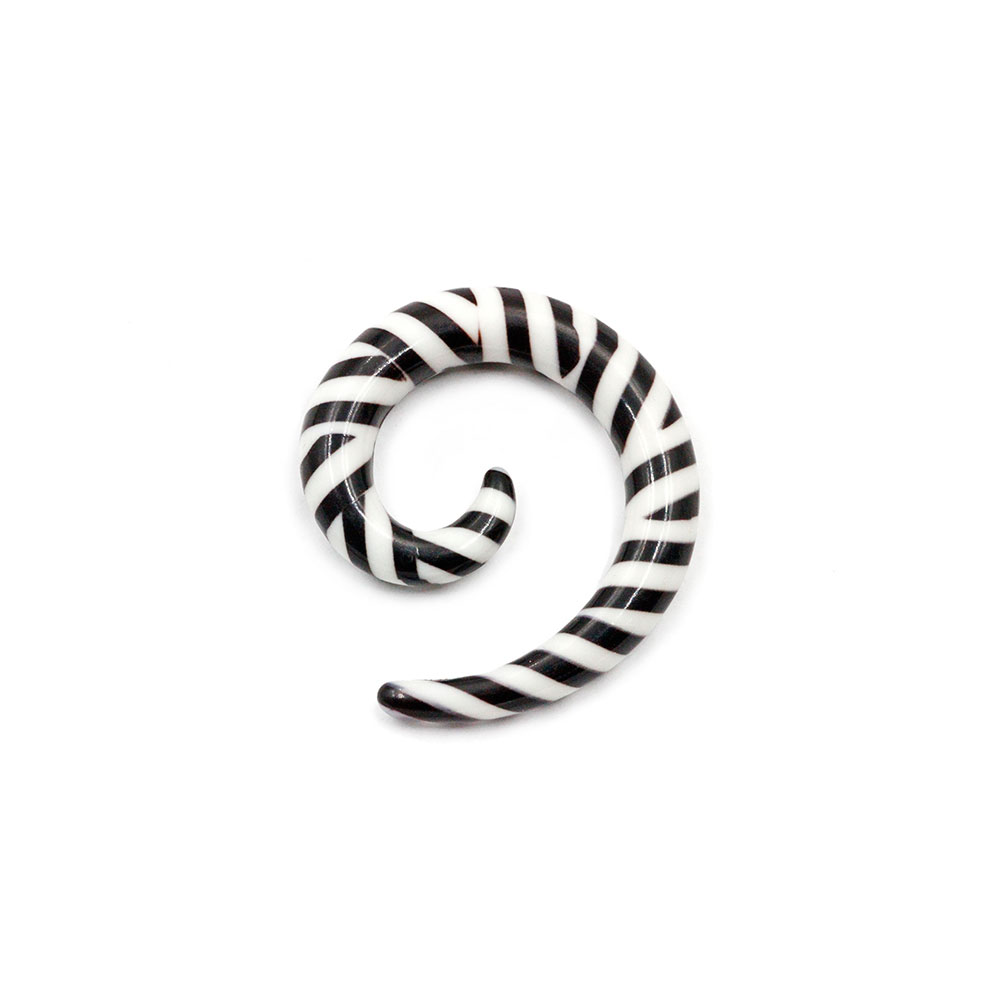 Spiral White with Black Stripes