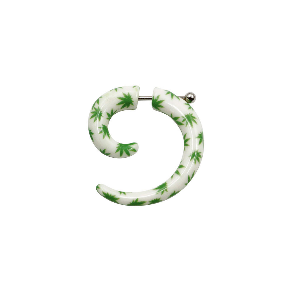 Fake Spiral White with Green Leaves