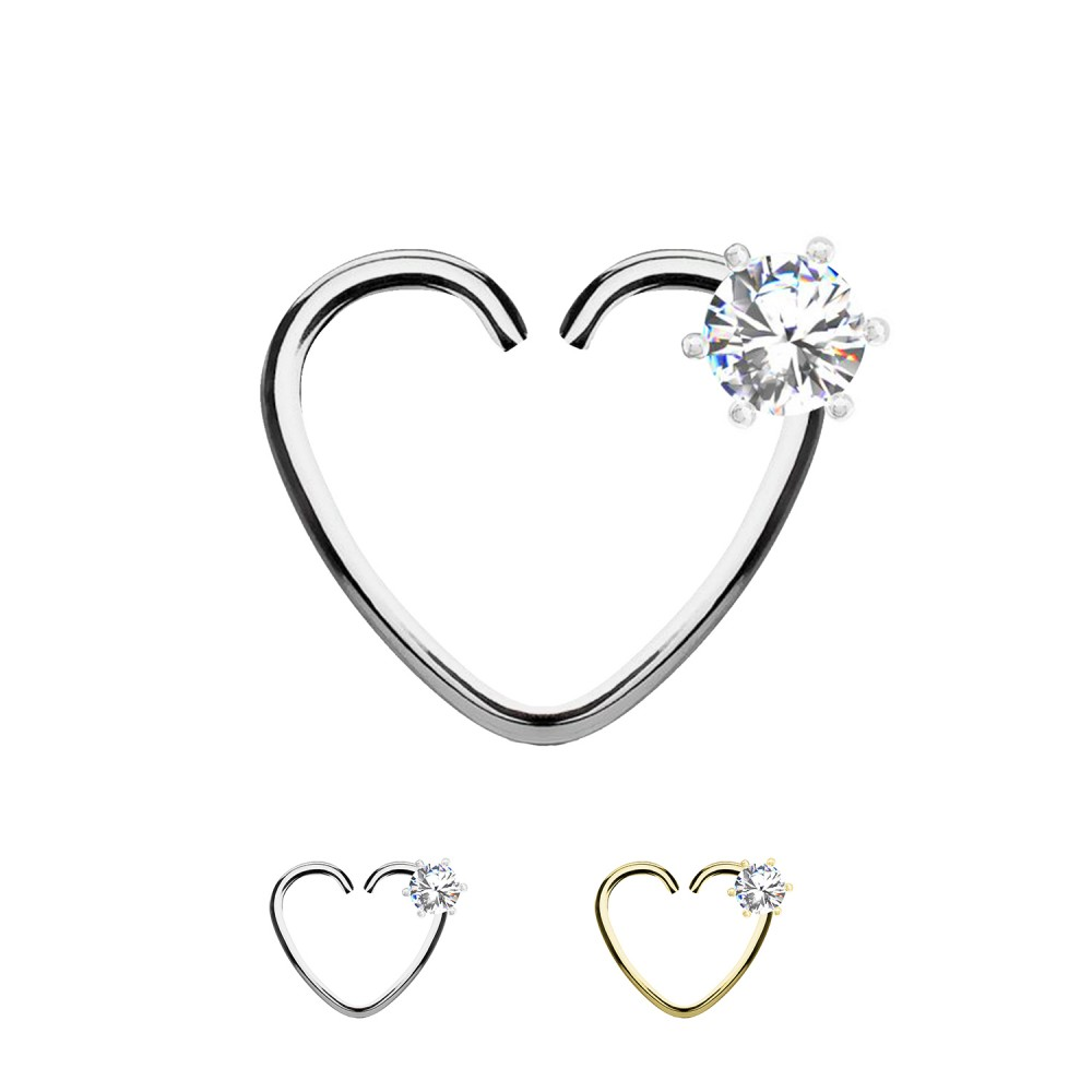 Ear Piercing Heart with Crystal
