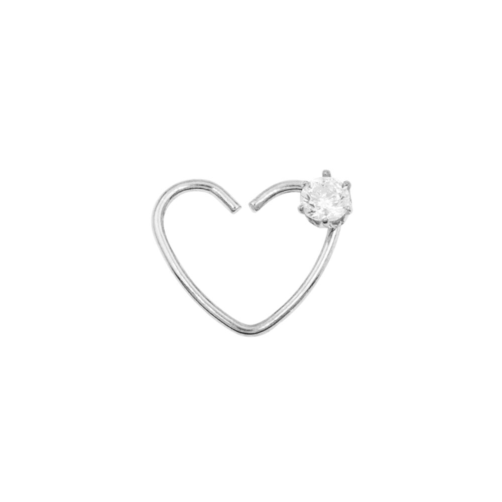 Fake Piercing Heart with Crystal