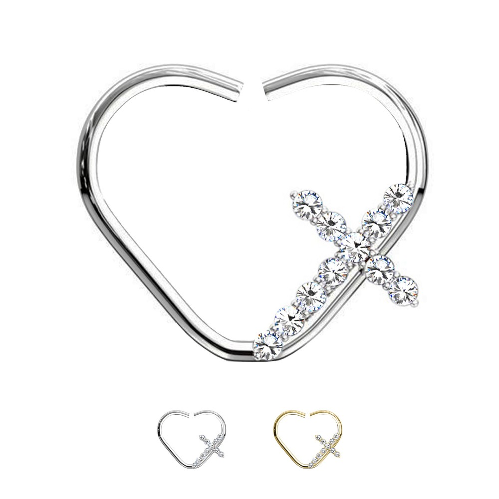Ear Piercing Heart with Cross