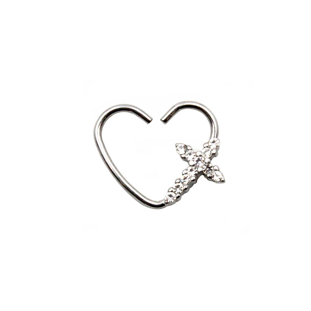 Fake Piercing Heart with Cross