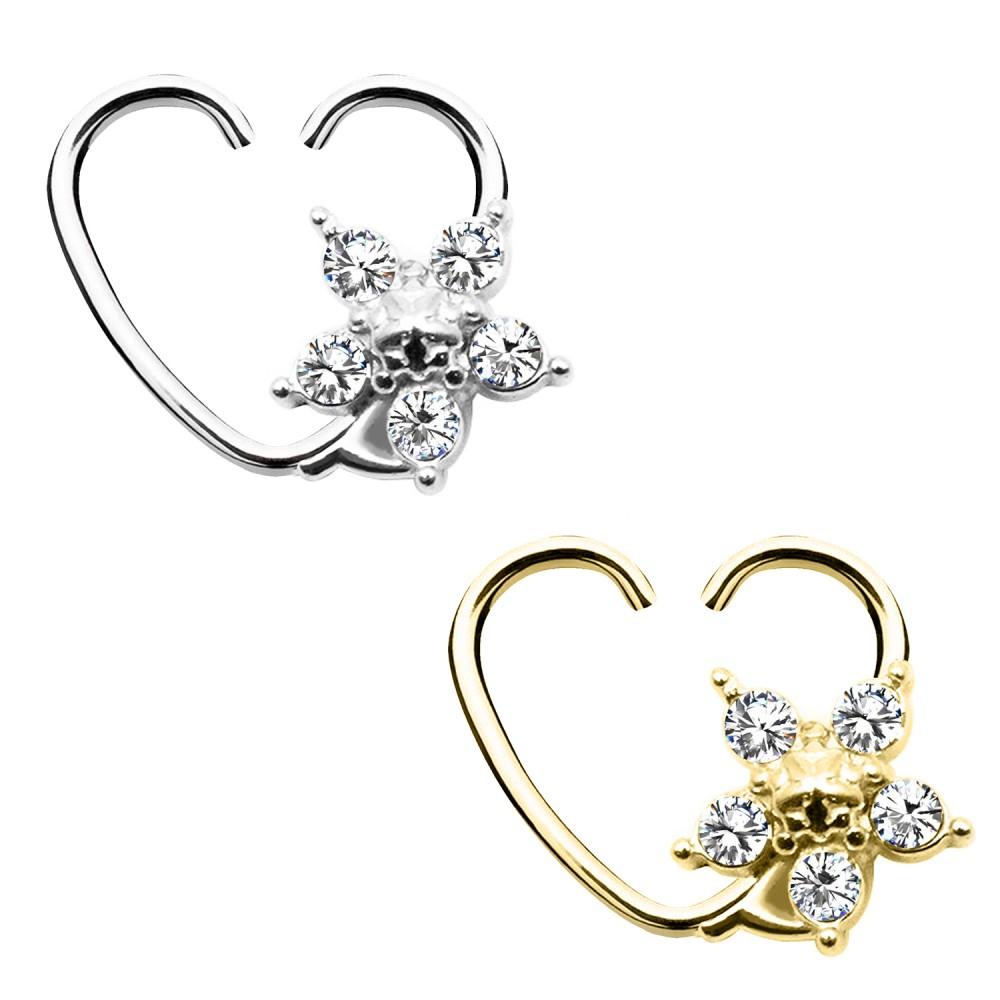 Ear Piercing Heart with Flower