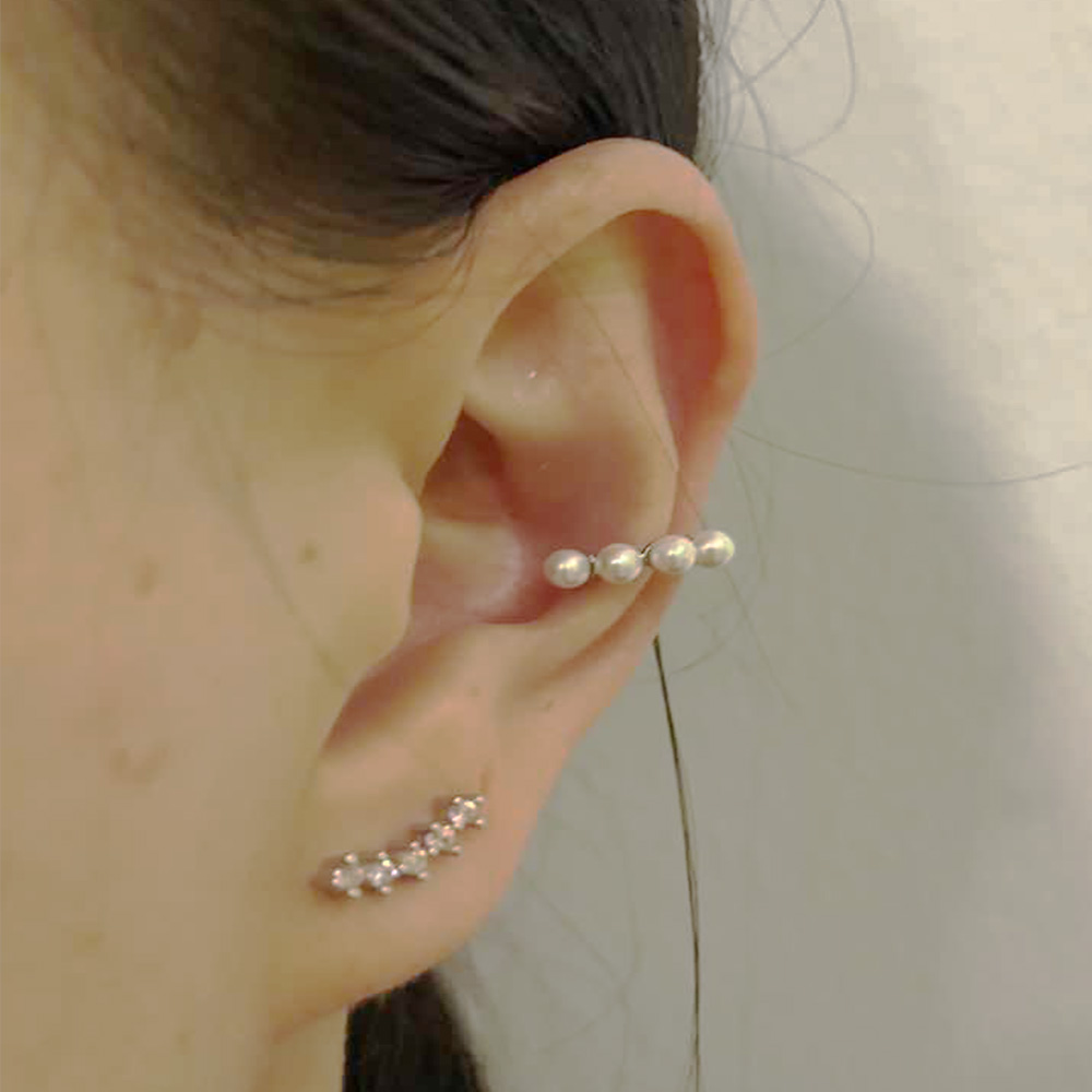 Earring Cuff without piercing, Pave single in Helix / Cartilage with pearls 1Pc