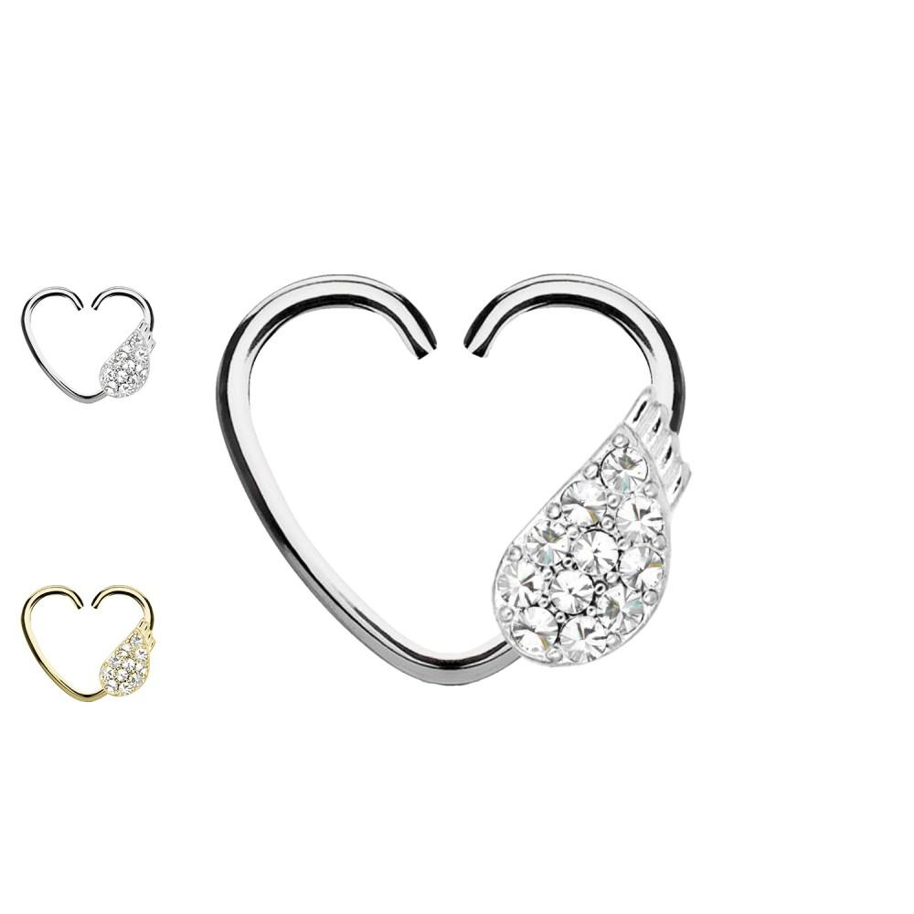 Ear Piercing Heart with Angel Wings