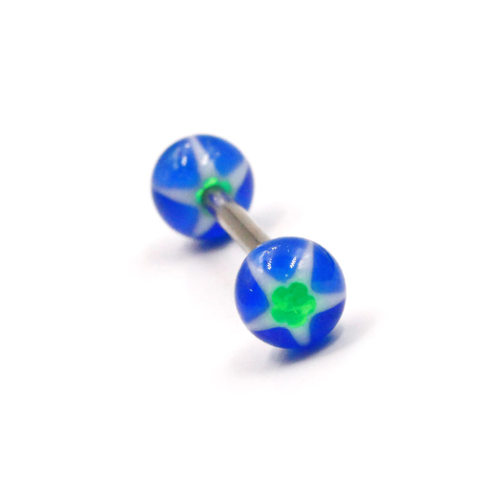 Barbell with Acrylic Blue and Green Balls
