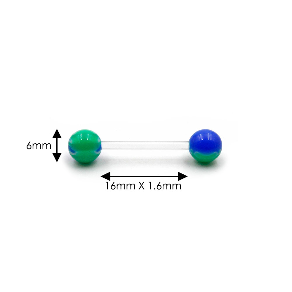 Barbell Acrylic Blue and Green Balls