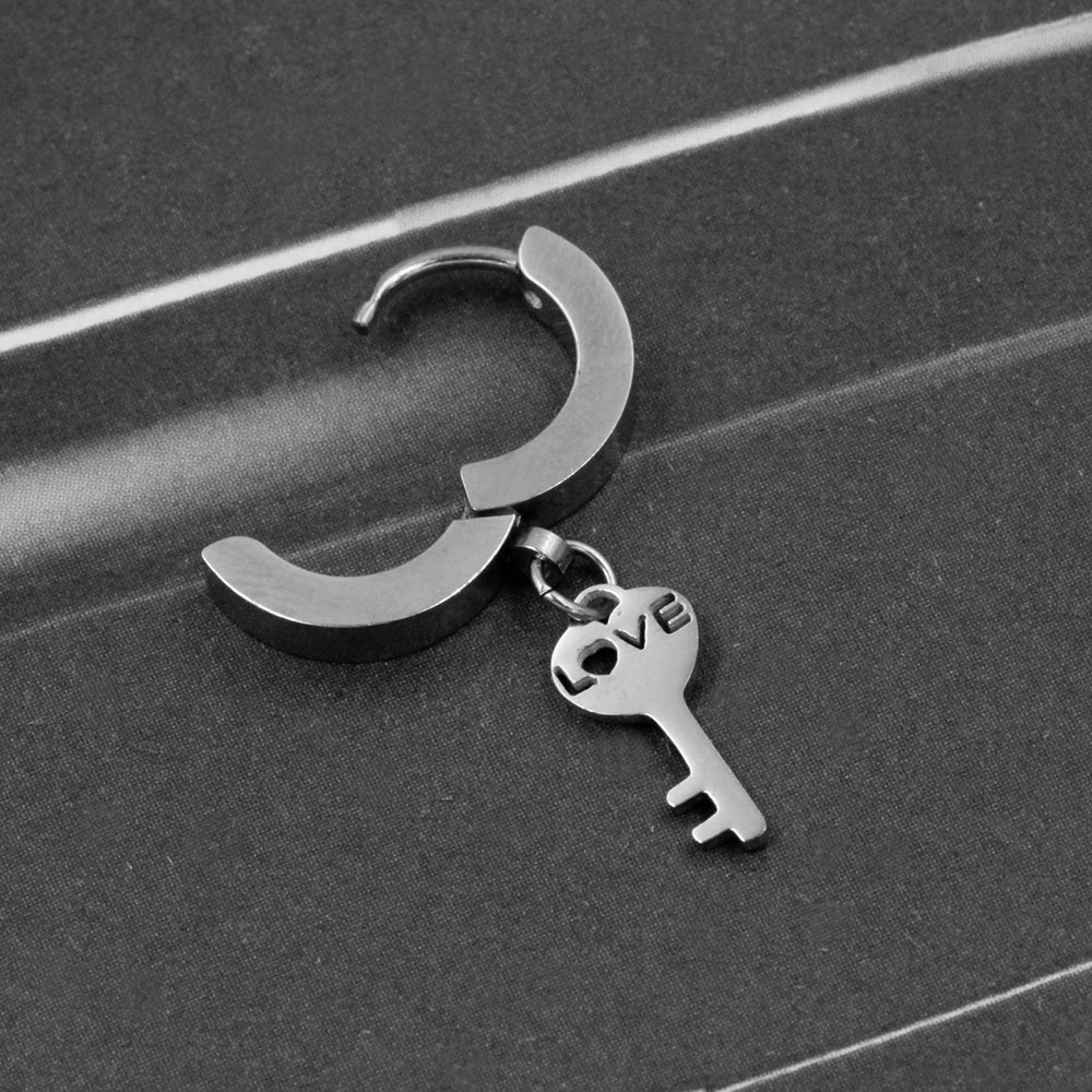 Earring with Pendant Love Key