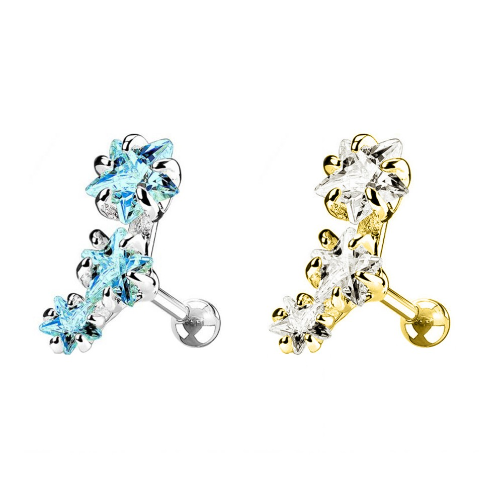 Helix Ear Stud Five-Pointed Stars