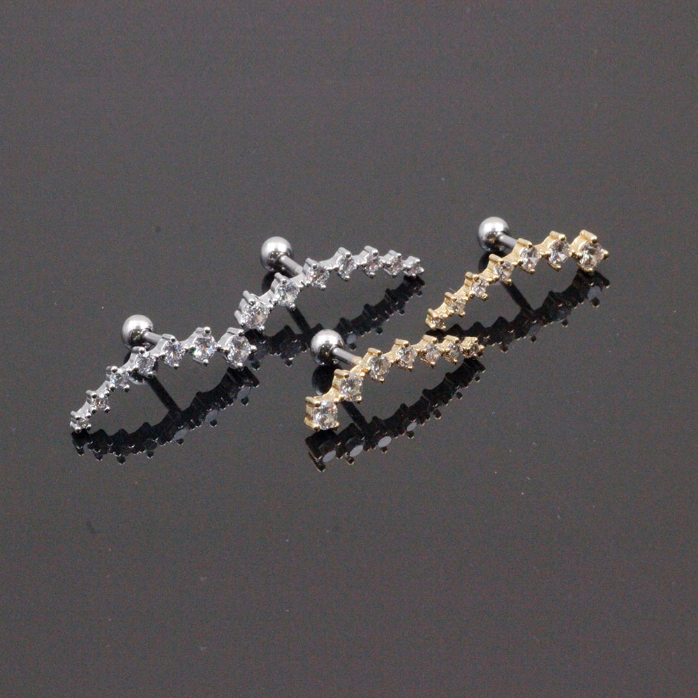 Cartilage Earrings in Steel with Crystals