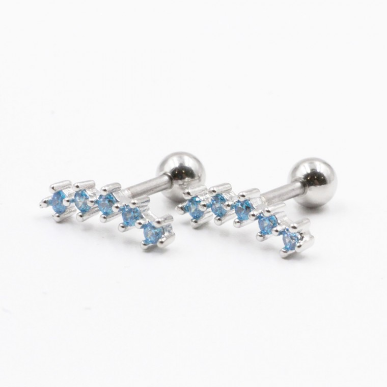 Long lobe earrings with crystals