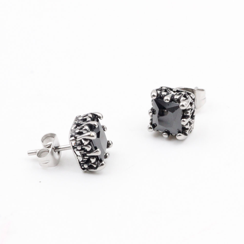 Black Stone / Silver Earrings Square in Stainless Steel  forGift