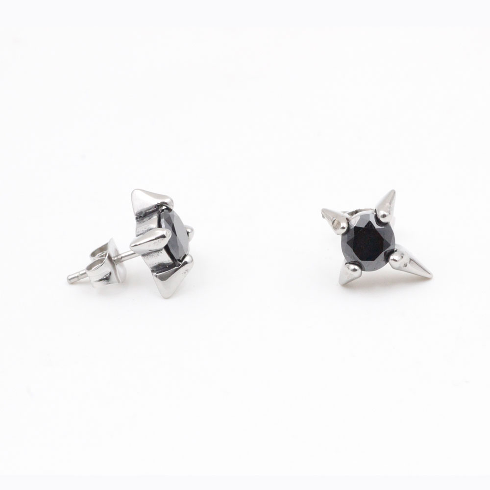 Four-Pointed Star Earrings with Black Stone in Center Stainless Steel